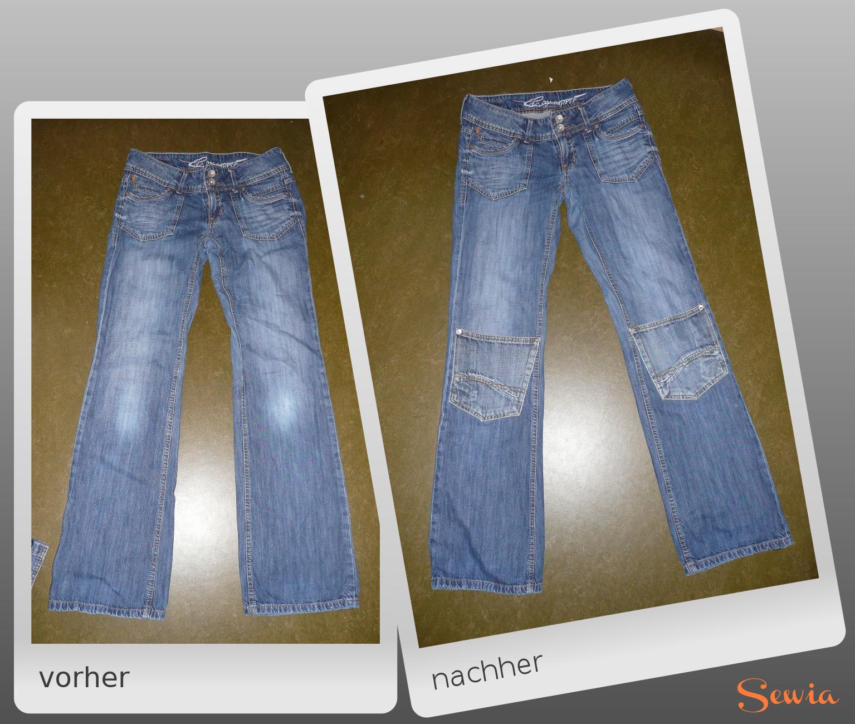 Jeans mit Taschen flicken